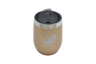 gold 10 oz insulated stainless steel wine or whiskey tumbler with BPA free lid and silicone base for hot and cold drinks