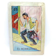 El borracho loteria metal card. Large Loteria card of el borracho, the drunk, with a man holding a beer drunk on the street. Taken from the traditional mexican loteria bingo game to make this great gift for your family or friend that is always drunk at parties. Fun, funny, gag gifts. Sold by SDTrading Co.