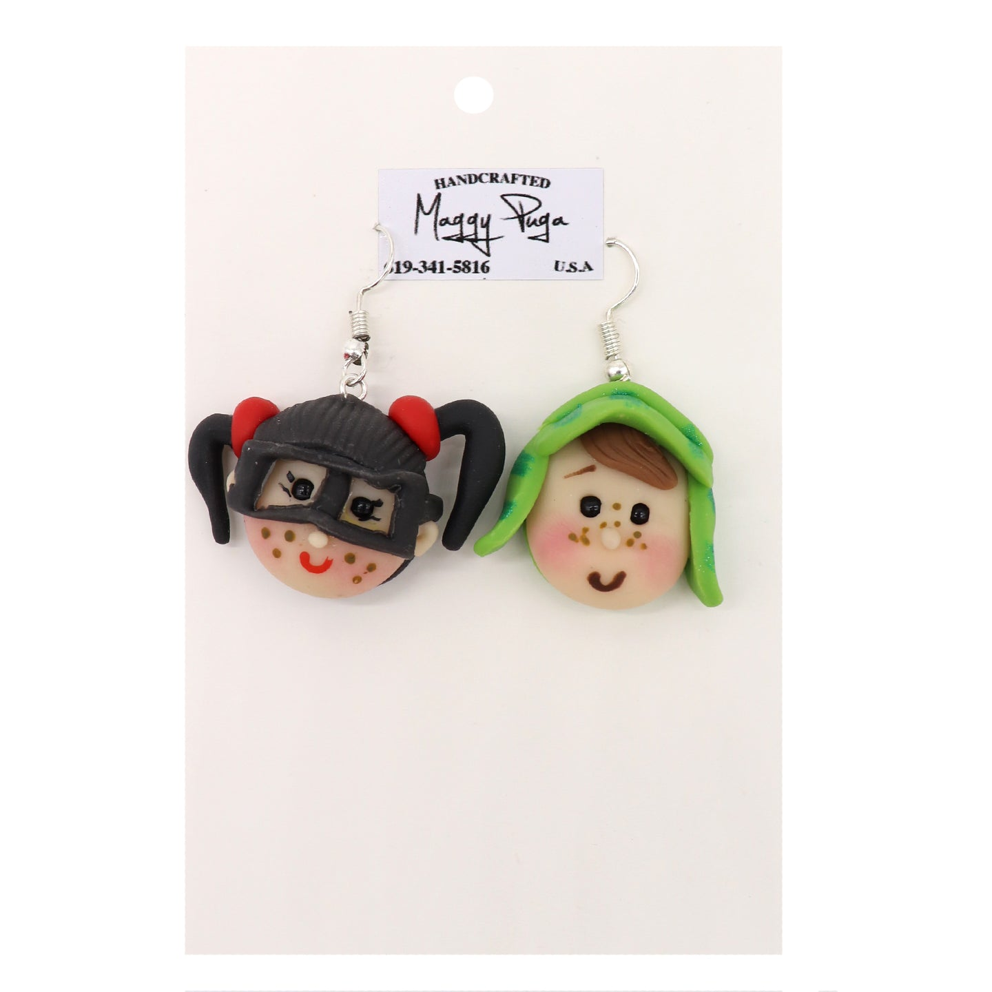 La chilindrian and El Chavo earrings from iconic Mexican TV series El Chavo del Ocho. Handcrafted with intricate details to resemble the characters. Made by small shop Maggy Puga and Sold by SDTrading Co.