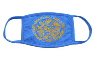 Heather Blue Adult cotton face mask with the mexican flag eagle in gold print and verbiage Estados Unidos Mexicanos