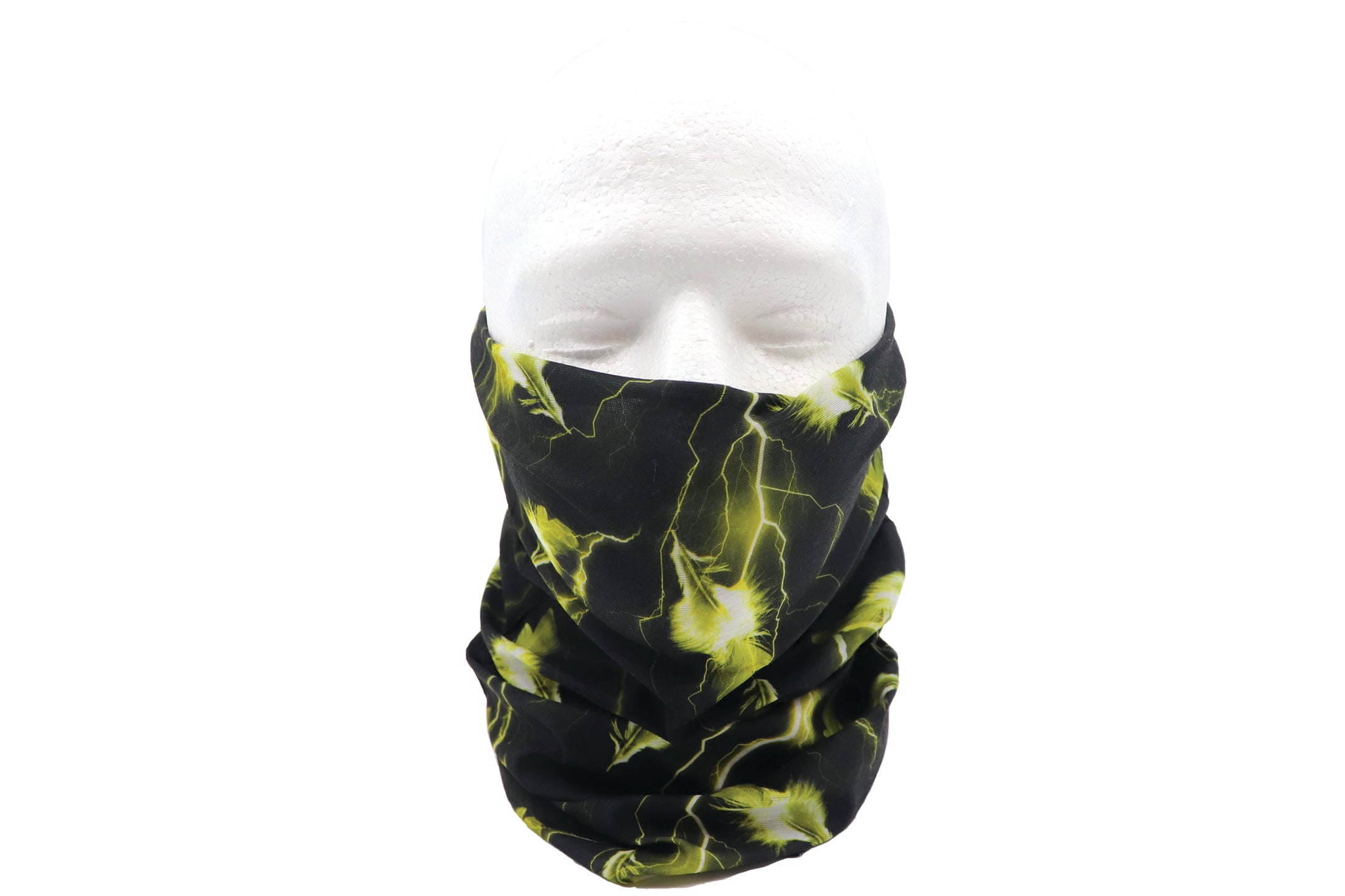 Gaiter face mask for sports, head wear, neck, sun and particles protection. Lightweight color black with yellow feathers and electricity printed all over bandana sleeve.