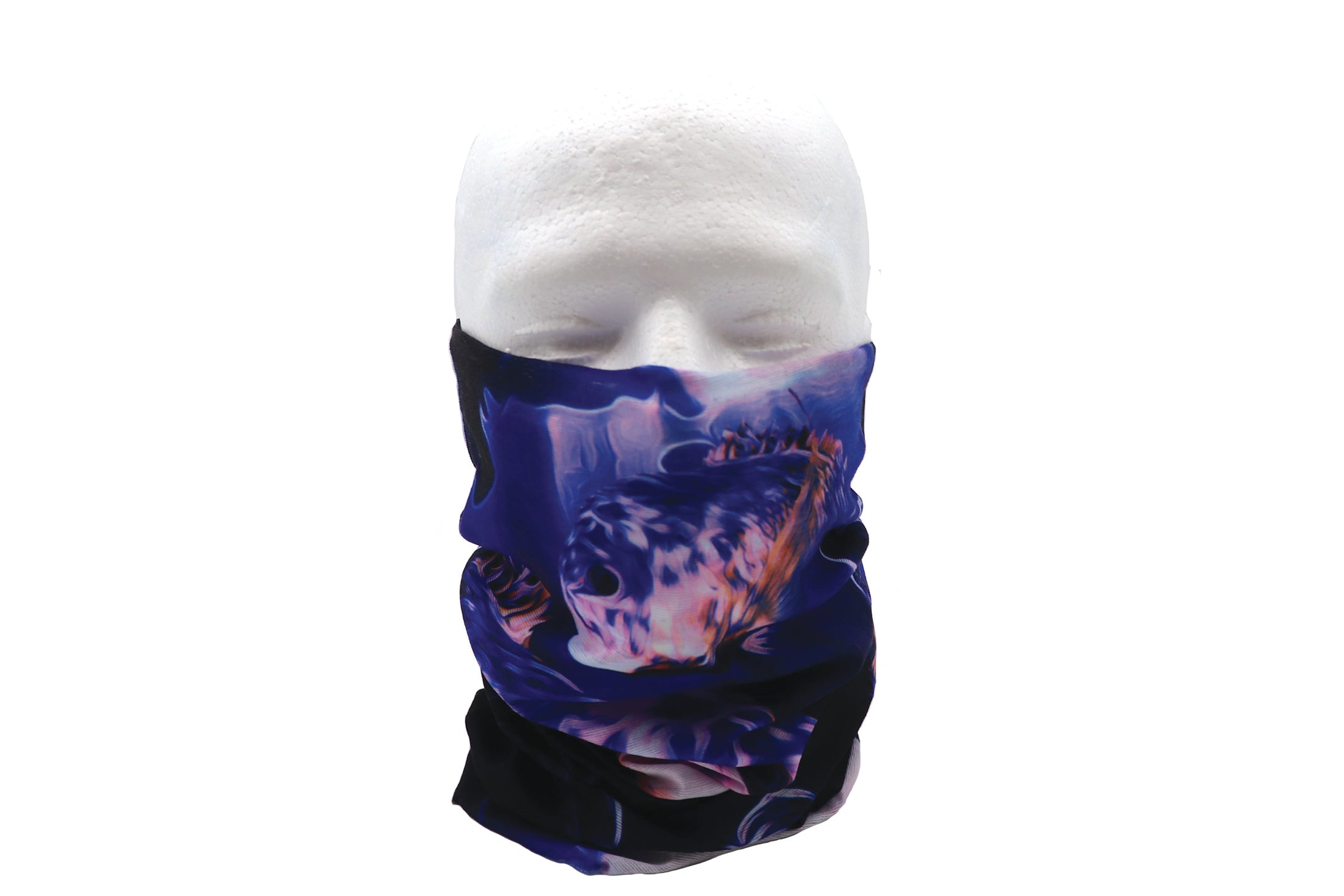 Koi fish gaiter bandana of a large KOI Fish swimming under water. Dark blue and slight orange and blue fish. Face covering for protection. Breathable gaitor for sports or face mask.