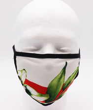 Adult floral face mask. White Flower mask with green leaves  a red backdrop over a an off white background.Comfortable mask, women mask, fashion mask.washable face mask, reusable face mask, cloth face mask, fabric mask,lycra mask, strechy mask, and compliant with CDC guidance. Washable mask and reusable. Sold by SDTrading Co.