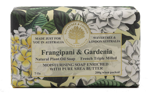 Frangipani & Gardenia Australian made soaps No SLS, Parabens, detergents or harsh chemicals. Our moistuzing soap is mild and non-drying.