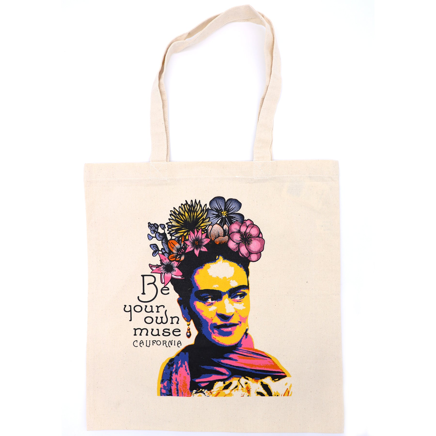 Frida Kahlo tote bag design by San Diego, California local artist. Silkscreen printed to create a beautiful artistic canvas tote made out of 100% cotton. Frida is portrayed with a beautiful colorful flowers crown, with floral colors in pink, blue, orange, and yellow. Printed message on left in black : Be your own muse California.