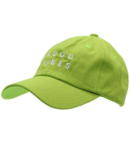 Men and Women Unisex Dad hat solid pastel green embroidered good vibes and thunderbolt. Spread love, cheer, goodness to others. Nice cap for outdoor sun protection material 100% Cotton, Six Panel, Designed and Embroidered in California, USA