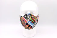 Women's Face Mask geometric inca retro pattern very vibrant with lots of color to make any outfit standout. Retro look with lots of different colors in rectangular shape liked up to make lines and diamond black ans white alternating to create a masterpiece of art pattern.  Elastic face mask that is reusable and washable fabric mask. Summer face mask. Fashion face mask