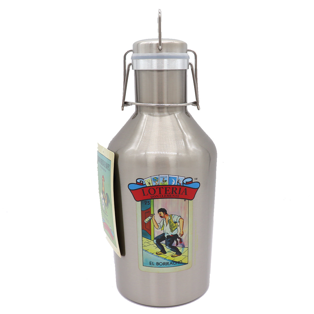 Stainless steel growler with a built in swing lid featuring a Loteria design with card numer 25 El Borracho and Loteria on a re Banner above. Drinking Container.