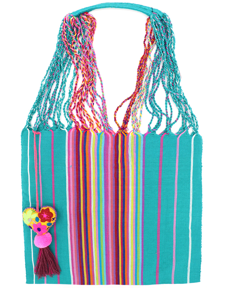 Handcrafted Bag : Woven Bag with Heart Tassel Pom Pom