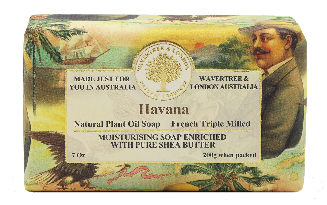 Havana Soap 100% Certified Sustainable pure plant oils and organic shea butter with no added color or artificial preservatives