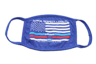 Honor, Respect, Loyalty face mask honoring our polic, fire, ems, departments. United Sates of America USA flag in white print with a blue stripe for police, red for fire department, white fro EMS, and below in white No one fights alone. Face mask is comfortable 2 layer cotton in Navy color with matching trimming.