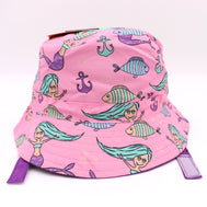 Kids bucket hat with built in UV protection, UPF 50+ for infants, toddler, and small children. Built in sun protection. Lightweight hat for sunny days, beach, pool, zoo, and playdates. Pink hat features mermaids, anchors, and fish with purple Velcro straps. Reverses to solid purple hat.