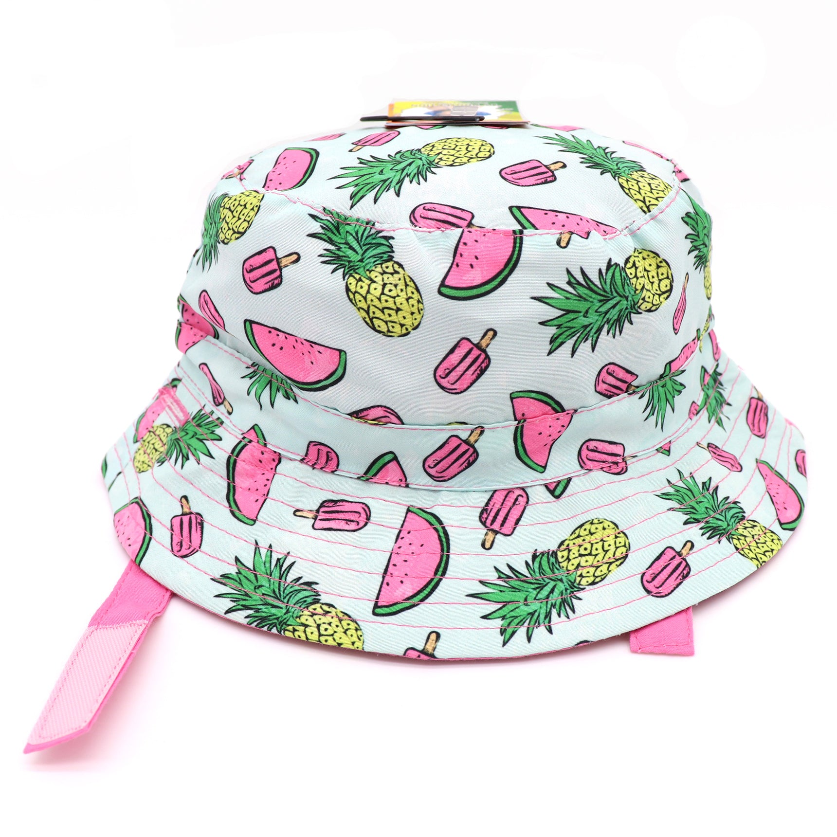 Kids bucket hat with built in UV protection, UPF 50+ for infants, toddler, and small children. Built in sun protection. Lightweight hat for sunny days, beach, pool, zoo, and playdates. White hat featuring summer watermelon, pink popsicles, and pineapples  with pink velcro straps. Reverses to solid soft pink hat.