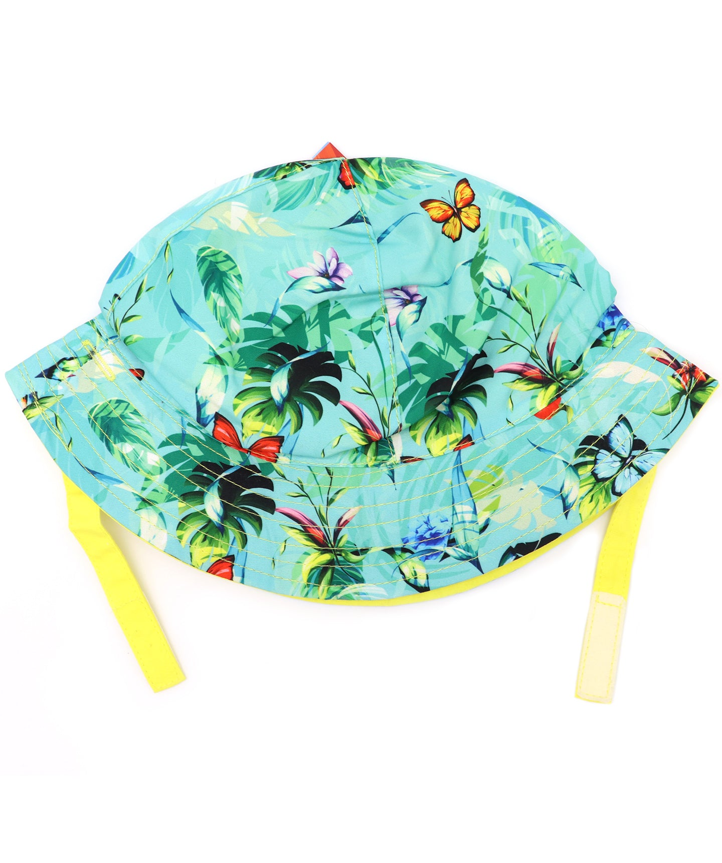 Butterfly kids round hat, bucket hat with built in UV protection, UPF 50+ for infants, toddler, and small children. Built in sun protection. Lightweight hat for sunny days, beach, pool, zoo, and playdates. Teal hat features tropical foliage and orange butterflies with yellow straps.