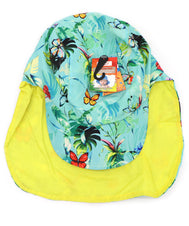 Kids neck guard hat with UPF 50+, ultra violet protection factor. Great hat for toddlers, small children, and infants. Ideal for sunny days, beach, pool, and hiking walks. Teal blue hat with colorful butterflies and foliage. Inside lining solid yellow. Sold by SDTrading Co.