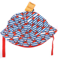 Infant Crab hat for kids, Children's bucket hat with built in UV protection, UPF 50+ for infants, toddler, and small children. Built in sun protection. Lightweight hat for sunny days, beach, pool, zoo, and playdates. Stripes blue, white features red crabs and red straps. Reverses to solid red hat.