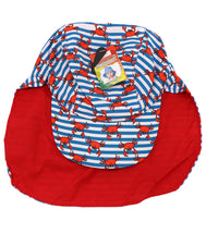 Kids neck guard hat with UPF 50+, ultra violet protection factor. Great hat for toddlers, small children, and infants. Ideal for sunny days, beach, pool, and hiking walks. Adorable red crabs, blue and white stripes. Reversible solid red. Sold by SDTrading Co.