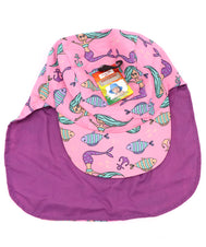 Kids neck guard hat with UPF 50+, ultra violet protection factor. Great hat for toddlers, small children, and infants. Ideal for sunny days, beach, pool, and hiking walks. Mermaids and fish cartoon pattern. Reversible solid purple. Sold by SDTrading Co.