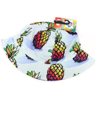 Kids bucket hat with built in UV protection, UPF 50+ for infants, toddler, and small children. Lightweight hat for sunny days, beach, pool, zoo, and playdates. White hat featuring colorful bright vivid pineapples with purple Velcro straps. Reverses to solid lilac hat. Sold by SDTrading Co.