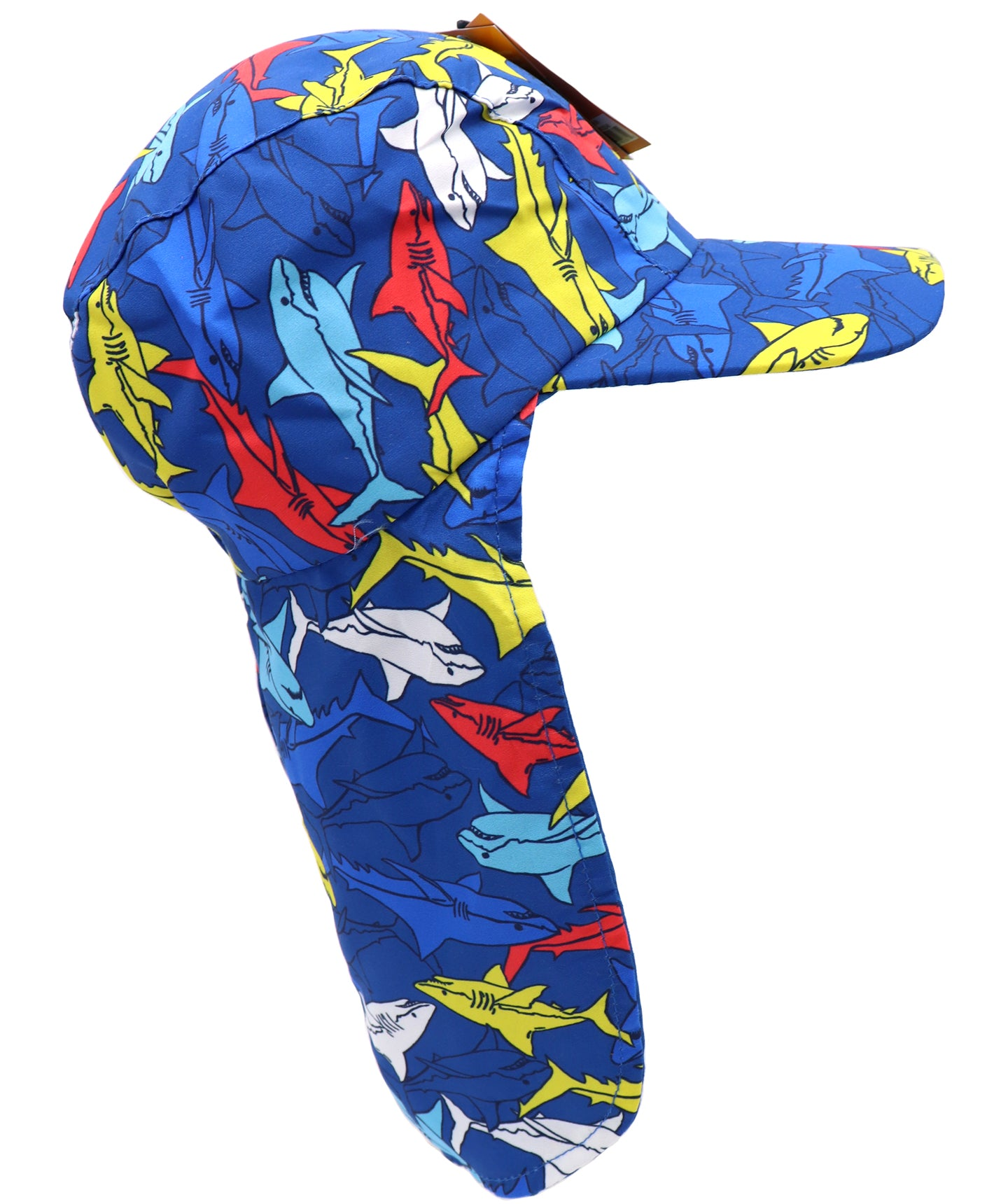 Kids neck guard hat with UPF 50+, ultra violet protection factor. Fit for toddlers, small children, and infants. Ideal for sunny days, beach, pool, and hiking walks. Print of colorful solid sharks : red, yellow, grey, and blue. Sold by SDTrading Co.
