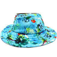 Kids beach bucket hat in color blue with a tropical print on it surrounded by leaves and butterflies. Made in polyester material