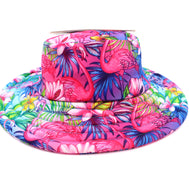 Girls Pink Bucket hat filled with a tropical flamingo pattern