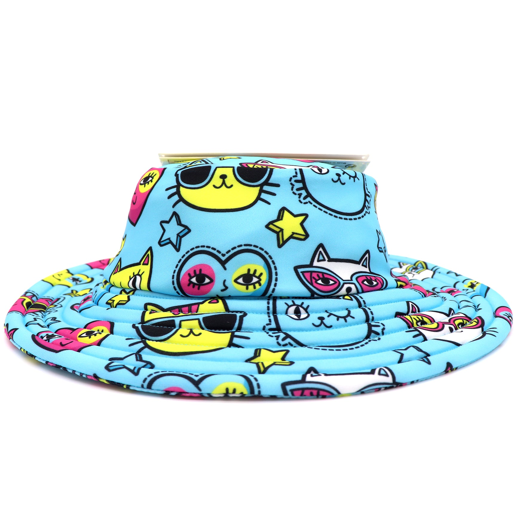 Turquoise Beach Bucket hat for kids with a pattern of kitten faces wearing sunglasses and winking, hearts, and stars