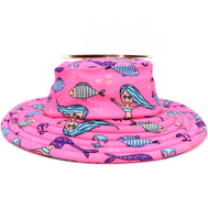GIrls pink bucket hat with a mermaid and fish pattern perfect for beach days. Bucket water hat for kids. Spandex makes it comfortable and easy to dry. Mermaid and fish design sold by SDTrading Co.