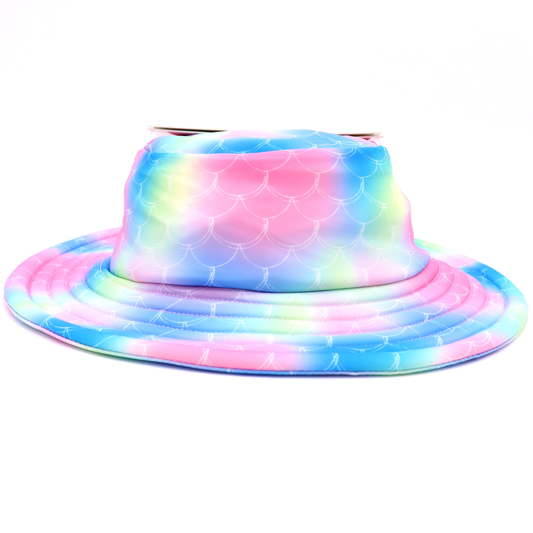 Colorful Mermaid scale pattern girls bucket hat with a wide brim perfect for beach days