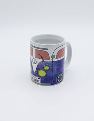 Mug of Hippie bus VW car, Groovy purple with peace sign and California dreaming  plates. Vintage Volkswagen drink ware.
