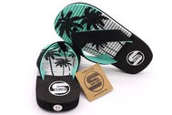 Boys flip flop thong sandals in color black. Palm tree sole print. All black strap on top and teal on bottom strap. Foam Sandals for kids. Beach attire for children. Kid's shoe size 11, size 12, size 13, size 1, size 2, size 3 Sold by SDTrading Co.