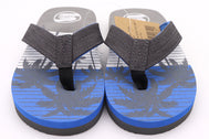 Boys thong sandals in color Grey. Palm trees in Grey over light blue background. Straps are gray at top and light blue on bottom. Foam Sandals for kids. Beach attire for children. Sold by SDTrading Co