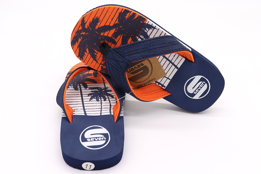 Boys thong sandals in color Navy. Palm trees in navy over orange background and white. Straps are Navy at top and orange on bottom. Foam Sandals for kids. Beach attire for children. Sold by SDTrading Co.