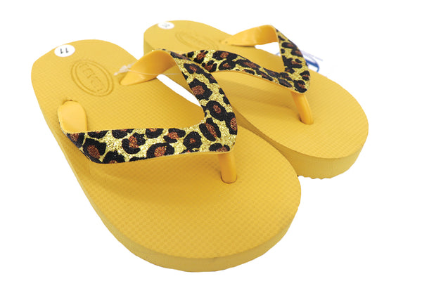 Toddler sandals flip flops mustard yellow sole and cheetah upper thong pattern for everyday wear indoor or outdoor. Home shoes thong sandals for kids or beach, pool, lake, and or summer. Comfy shoes. Sold by SDTrading Co.