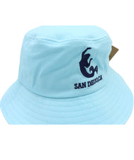 Front view of Aqua kids bucket hat featuring an embroidered design of a mermaid with verbiage San Diego, Ca in Navy below it