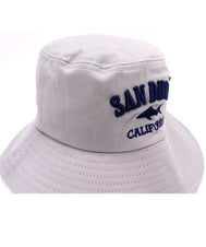 Front view of gray kids bucket hat featuring an embroidered design of a shark with verbiage San Diego above and California in navy below it