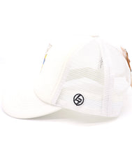 Kids Trucker Hat catch the waves surf dinosaur with surfboard. Foam white baseball hat for kids. Great summer, beach, ocean hat for youth, boys, girls, and even toddler with snapback. Kids baseball hat Sold by SDtrading Co.