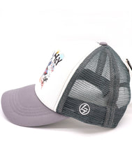 Kids Trucker Hat I'm with cool boy. Printed rock n roll surfer dinosaur with grey mesh. Great summer, beach, ocean hat for youth, boys, girls, and even toddler with snapback. Kids baseball hat Sold by SDtrading Co.