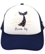 Dream big mermaid baseball hat for girl's ages 3-7. Navy hat with mermaid tail that has cut out star shapes dipped in gold water and splash droplets, and dream big text below. Everyday, summer, beach, ocean hat for youth, boys, girls, and even toddler with snapback. Kids baseball hat Sold by SDtrading Co.