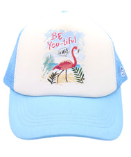 Girl's trucker hat. Flamingo with inspirational message to be yourself because you are beautiful. Sky blue cap with breathable mesh. Hat for everyday, summer, beach, ocean hat for youth, boys, girls, and even toddler with snapback. Kids baseball hat Sold by SDtrading Co.