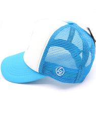 Shark kid's trucker hat. Features an adorable shark holding a sign that reads FREE KISS. Turquoise hat with five panels, mesh, and snapback. Hat for everyday, summer, beach, ocean hat for youth, boys, girls, and even toddler with snapback. Kids baseball hat Sold by SDtrading Co