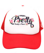 "Girls red rosses hat for the youngest feminist in the family. Let your daughter, niece, or little one know that Beauty is Power. This hat come with that message and above it ""I feel Pretty, on a five panels, mesh, and snapback. Hat for everyday, summer, beach, ocean hat for youth, boys, girls, and even toddler with snapback. Kids baseball hat Sold by SDtrading Co."