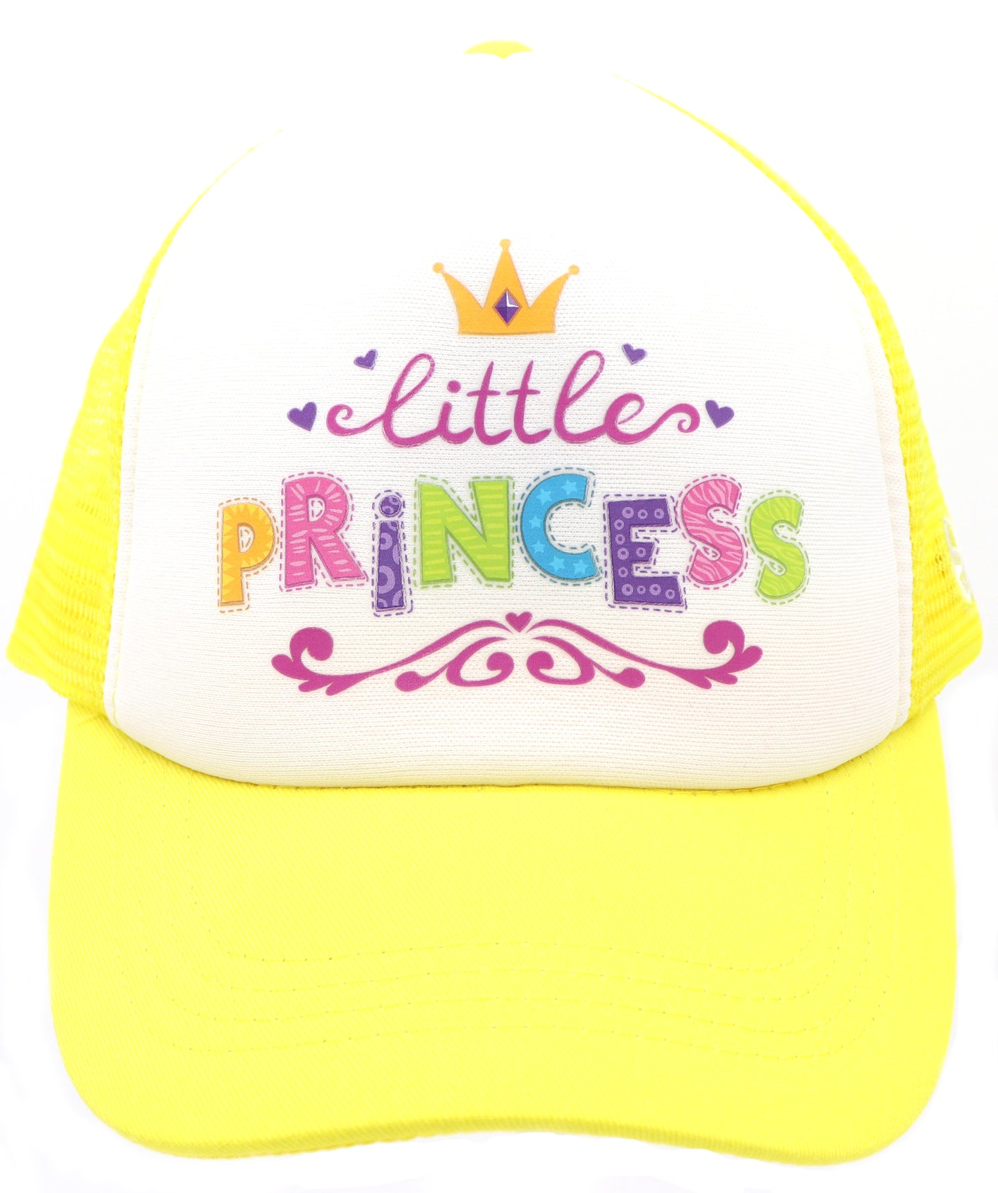 Little princess baseball hat for girl's ages 3-7. Yellow hat features a crown, purple hearts, and colorful letters, little princess. Let your daughter, niece, or little one know they are loved. Hat for everyday, summer, beach, ocean hat for youth, boys, girls, and even toddler with snapback. Kids baseball hat Sold by SDtrading Co.