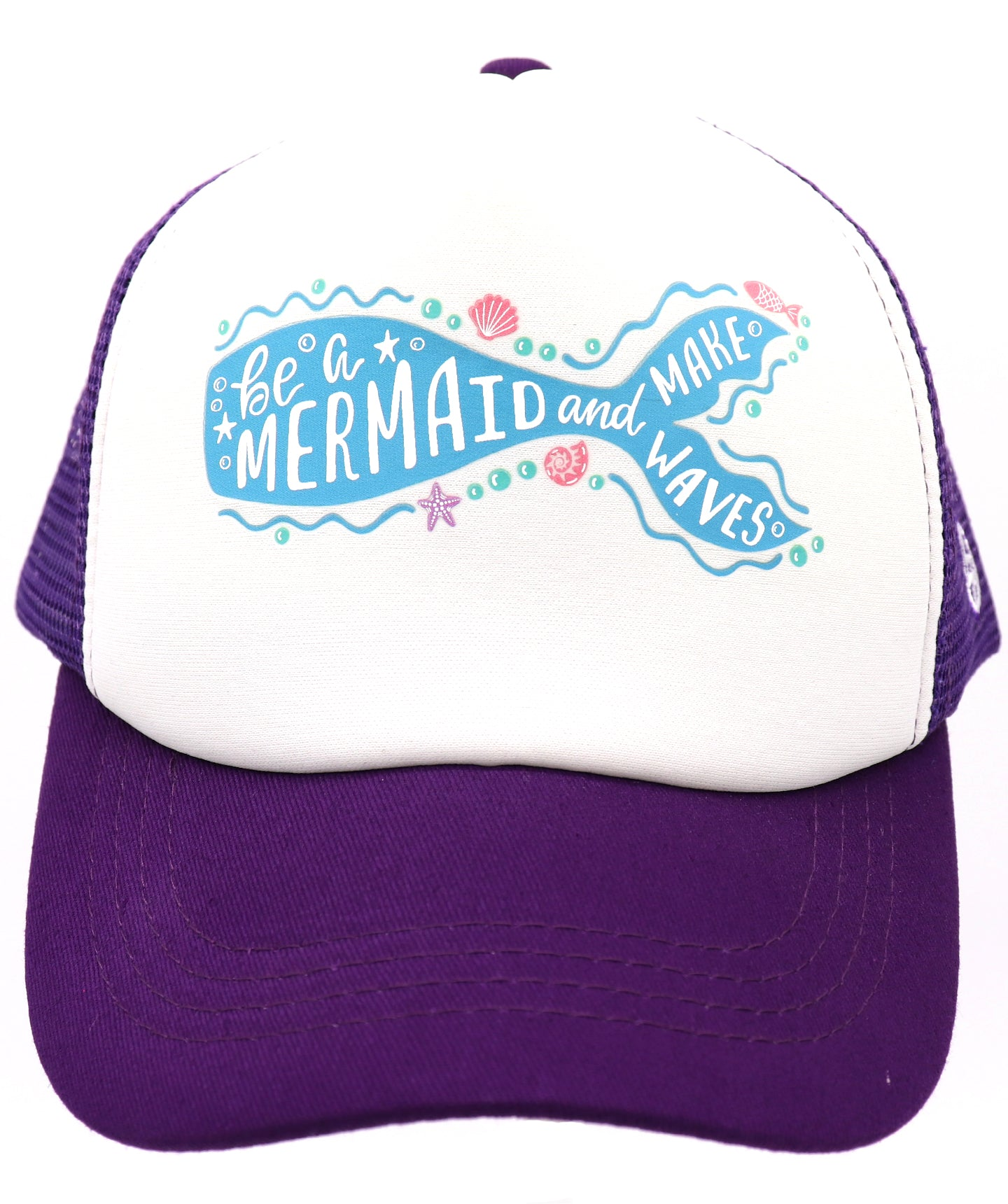 Be a mermaid and makes waves purple mesh baseball hat for girl's ages 3-7. Hat for everyday, summer, beach, ocean hat for youth, boys, girls, and even toddler with snapback. Kids baseball hat Sold by SDtrading Co.