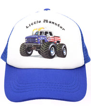 Monster truck baseball hat for kids. Huge trucks and engines are all the rave. Royal blue mesh trucker hat with a USA truck and text Little Monster. Great for rallies, shows for youth, boys, girls, and even toddler with snapback. Kids baseball hat Sold by SDtrading Co