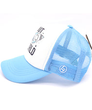 Rocket ship sky blue hat for kids. Baseball hat, trucker style with mesh back and snapback. Soft foam front printed with I'm out of this world with stars, galaxies, and rocket ship. Great for kids and even toddlers. Sold by SDTrading Co.