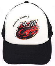 Race car baseball hat with classic red racer car. Black mesh trucker hat with racer in training, red car and checker black and white race flags. Great for rallies, shows for youth, boys, girls, and even toddler with snapback. Kids baseball hat Sold by SDtrading Co