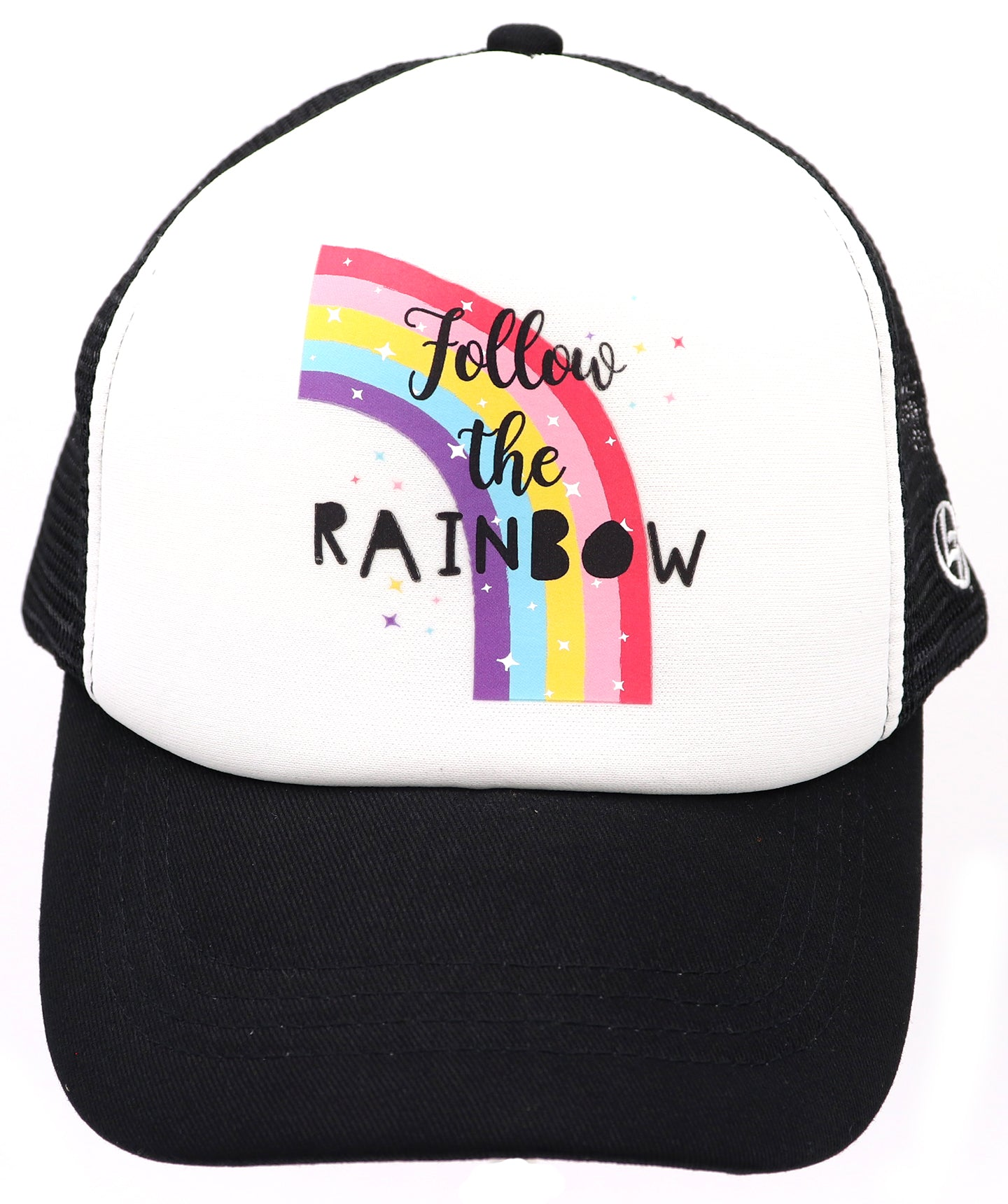Follow the rainbow baseball hat with rainbow and sparkles printed on the front. Comfy trucker style mesh panels, foam front, and adjustable snapback. Made for children youth, boys, girls, and even toddler with snapback. Kids baseball hat Sold by SDtrading Co.