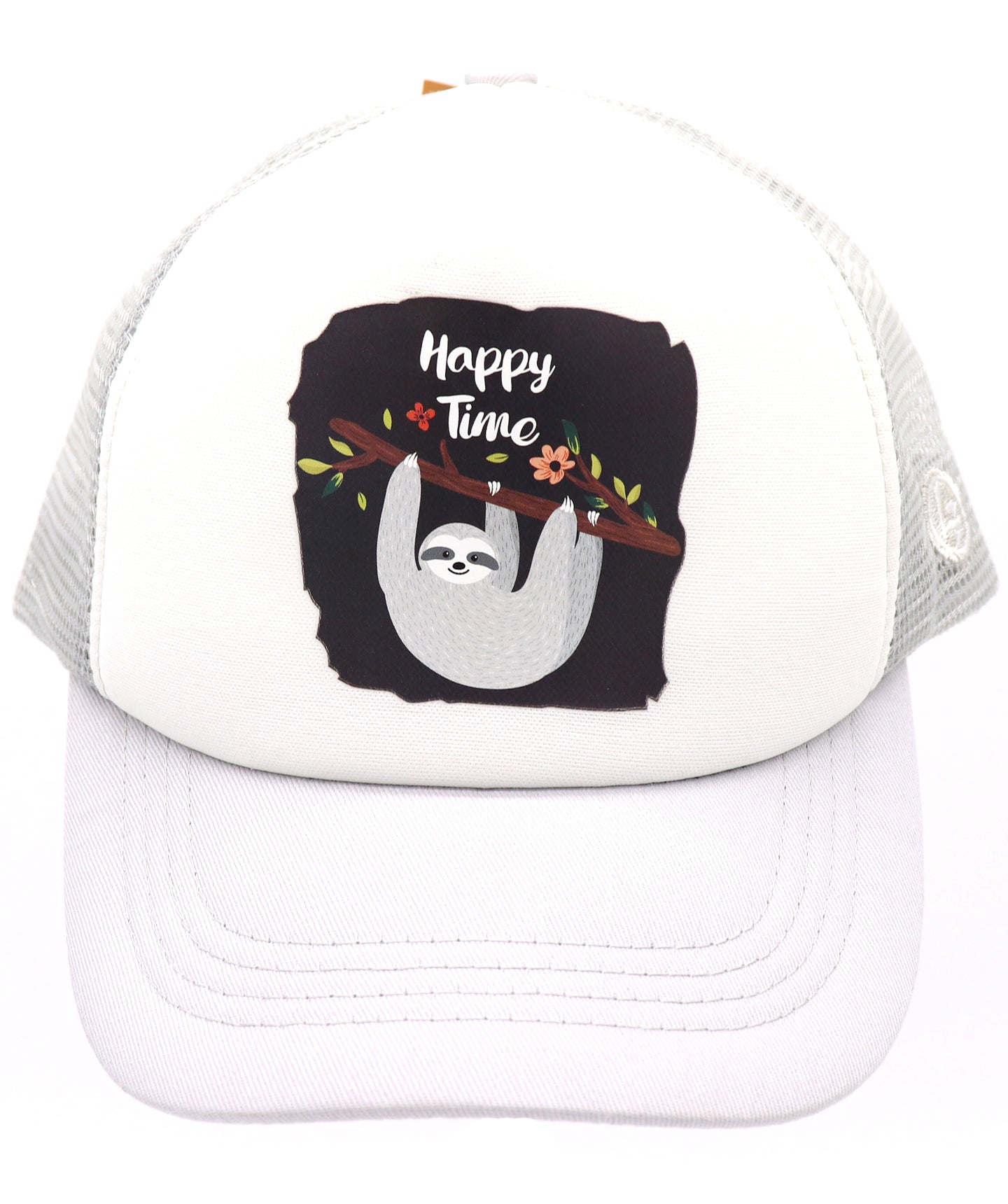 Happy time sloth funny baseball hat for kids. Comfy trucker style mesh panels, foam front, and adjustable snapback. Made for children youth, boys, girls, and even toddler with snapback. Kids baseball hat Sold by SDtrading Co.