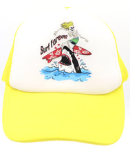 Skeleton surfer riding a surfboard over a white great shark. Surfing forever yellow comfy trucker style mesh panels, foam front, and adjustable snapback. Made for children youth, boys, girls, and even toddler with snapback. Kids baseball hat Sold by SDtrading Co